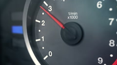 Tachometer Rev and Redline Stock Footage
