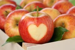 apple with heart love topic - stock photo