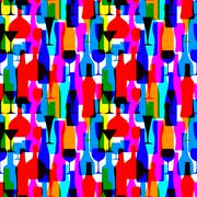 Seamless background with colorful bottles - stock illustration