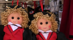 France - Alsace - dolls as souvenir from Strasbourg Stock Footage