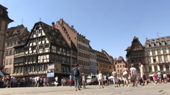 France - Alsace - Strasbourg - Square in front of the Cathedral Stock Footage