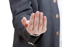 Businessman inviting - hand gesture Stock Photos