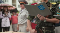 Young cadet gives the oath of allegiance to Ukraine Stock Footage