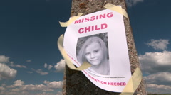 Missing person poster with photo of child Stock Footage