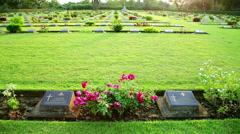 War cemetery, bridge over kwai river death railway grave Stock Footage
