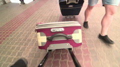 People traveling with luggage Stock Footage