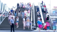 Crowded people in the stairs HD. Stock Footage