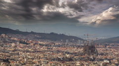 Barcelona skyline Sagrada Familia dramatic sky HD - stock footage
