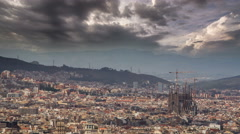 Barcelona skyline Sagrada Familia dramatic sky 4K - stock footage