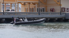 Military boarding speed boat Stock Footage