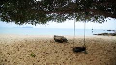 Empty swing at beach, sihanoukville, cambodia Stock Footage