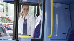 Two Young Women On Bus Journey Together Stock Footage