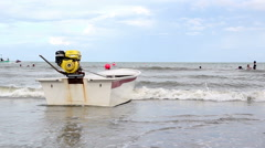 Boat with small engine in the back on Thailand beach Stock Footage