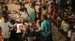 KOH RONG, CAMBODIA - MARCH 2014: local people celebration Stock Footage