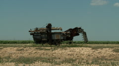 Old Harvester in Oklahoma Close Up 2 Stock Footage