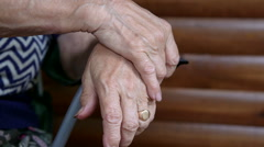 Stock Video Footage of Clasped senior woman hands