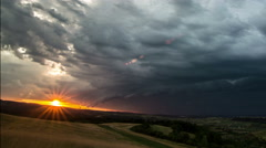 Transylvania landscape thunder storm at sunset 4K - stock footage
