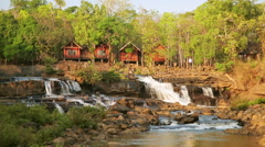 Tad Lo Village Waterfall, Pakse, Laos Stock Footage