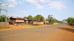 Lao village life around coffee planted Bolaven Plateau, Pakse, Laos Stock Footage
