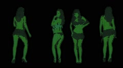 Women Dancing Silhouette Sexy A Led Lights Style For Vjs - stock footage