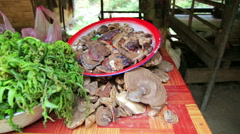 Selling Illegal Magic Mushroom Openly in Local Market, Laos Stock Footage