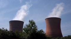 electricity generation coal power station cooling stacks towers - stock footage