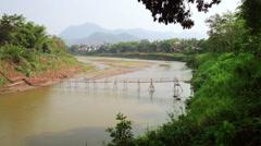 Empty bamboo bridge, luang prabang, laos Stock Footage