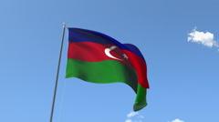 The flag of Azerbaijan Waving on the Wind. Stock Footage