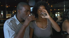 Couple Enjoying Drink At Bar Together Stock Footage