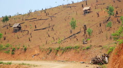 Deforestation in Laos, Cutting Rainforest, Naked Earth Stock Footage
