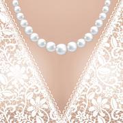 Decolette of white lace bridal dress - stock illustration