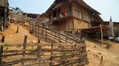 Indigenous tribal culture of Akha tribe village, Pongsali, Laos Stock Footage