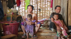 PONGSALI, LAOS - APRIL 2014: Homestay tribal Akha house Stock Footage