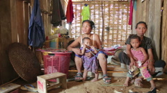 PONGSALI, LAOS - APRIL 2014: Homestay tribal Akha house Stock Footage