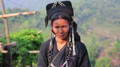 PONGSALI, LAOS - APRIL 2014: indigenous tribal native Akha village people Stock Footage