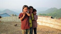 PONGSALI, LAOS - APRIL 2014: native Akha kids, Stock Footage
