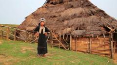 Indigenous native tribal woman, Akha tribe village, Pongsali, Laos Stock Footage