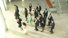 Businessmen And Businesswomen Dancing In Office Lobby - stock footage