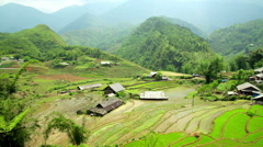Akha villages in Sapa, Vietnam, Magnificent Rice Terrace - stock footage