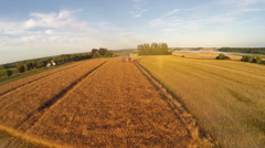 Landscape with Oilseed rape beeing harvested Stock Footage