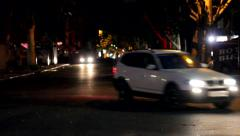 Walking on the road at night - stock footage