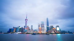 Shanghai skyline day to night time lapse Stock Footage