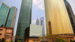 Shanghai, China, Shanghai Skyline in Pudong District Stock Footage