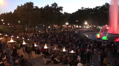 Crowd of spectators on the Night Show of the Magic Fountain of Montjuïc. Stock Footage
