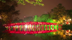 Hoan Kiem Lake and Huc Bridge, Hanoi, Vietnam Stock Footage