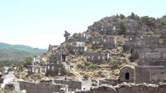 Remote Eastern Village - Kayaköy in Fethiye Turkey, AKA the Ghost town. Stock Footage