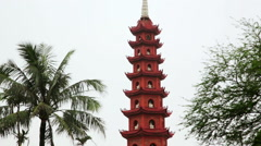 Zoom and Pan, Hanoi, Vietnam, Tran Quoc Temple Pagoda Stock Footage
