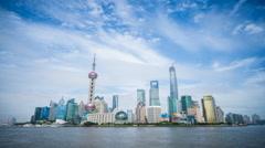 Shanghai shadowy skyline time lapse Stock Footage