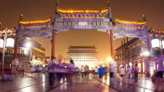 Qianmen pedestrian street at night 4K Stock Footage