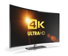 Curved 4K UltraHD TV - stock illustration